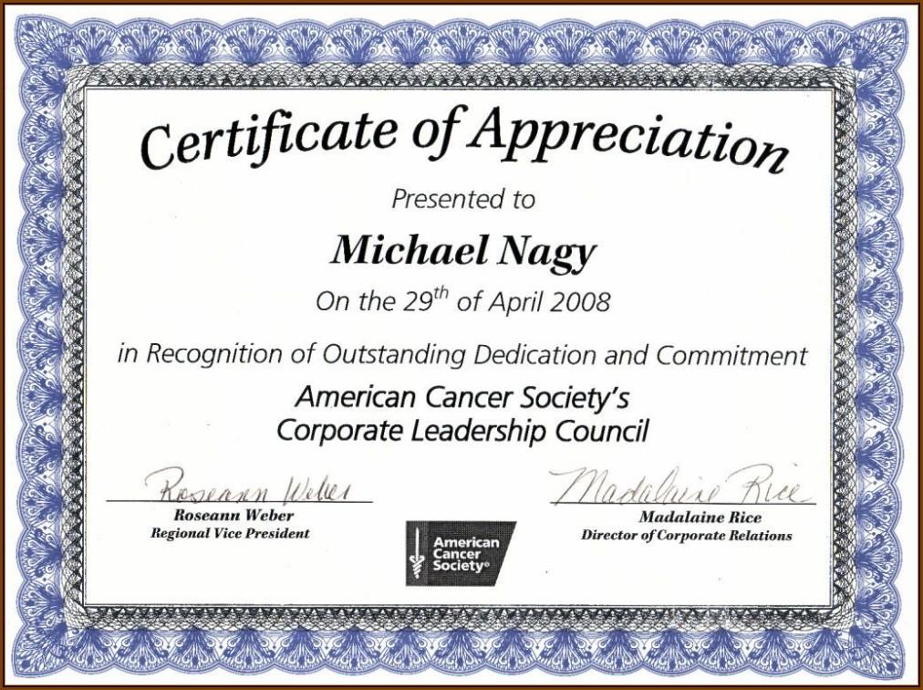 Certificates Of Appreciation Templates
