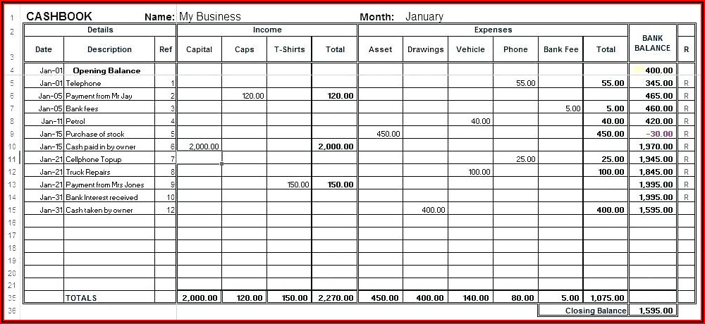 Checking Account Register Template Excel