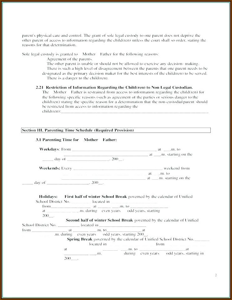 Child Visitation Agreement Template Uk