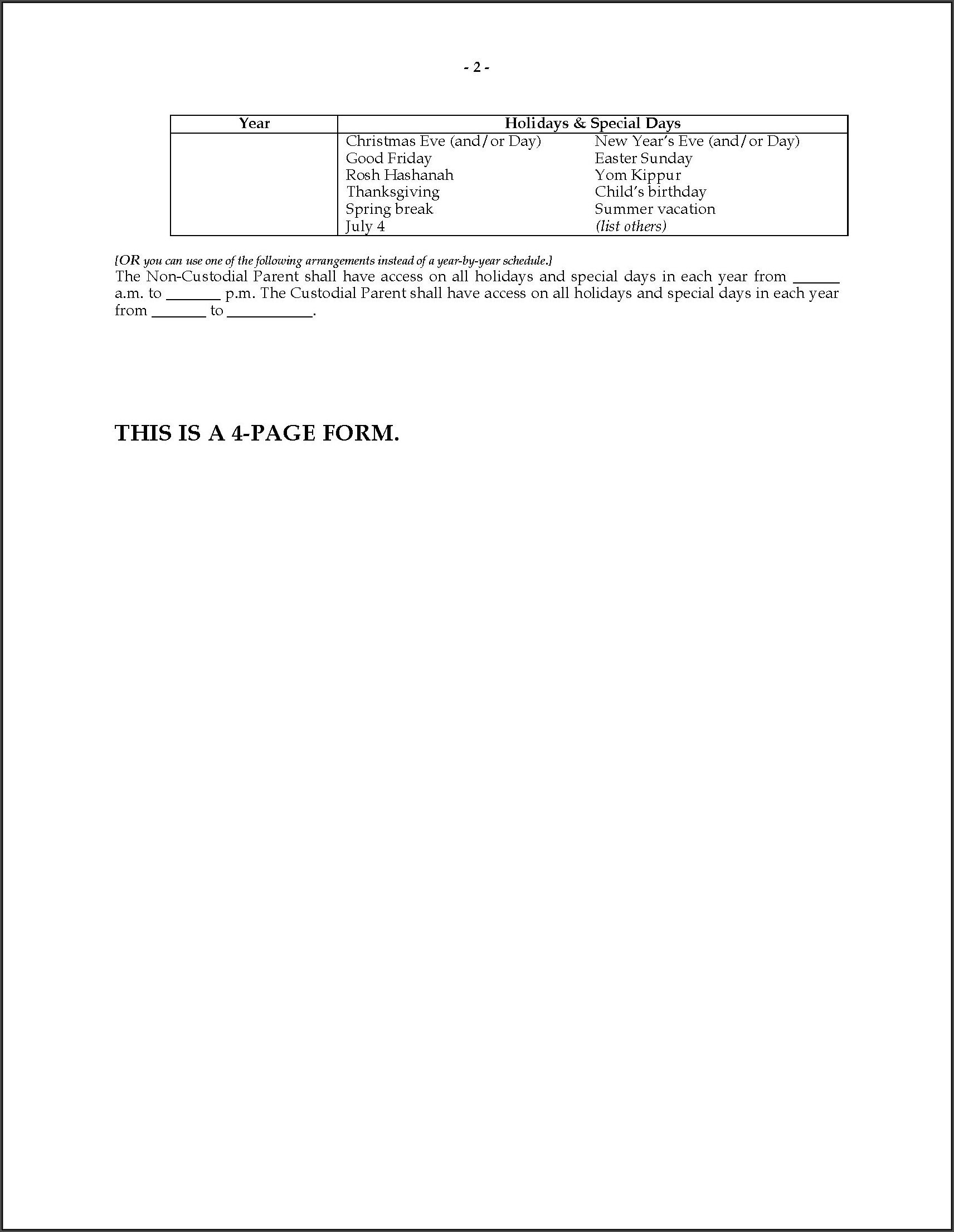 Child Visitation Agreement Template