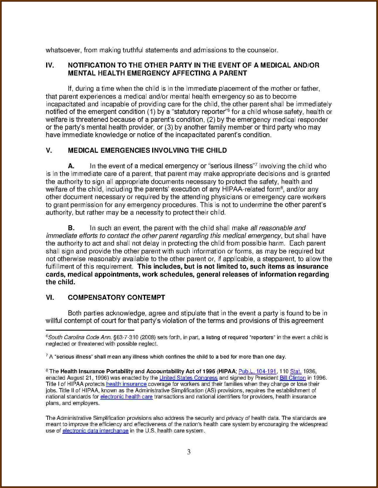 Child Visitation Agreement Without Court Template