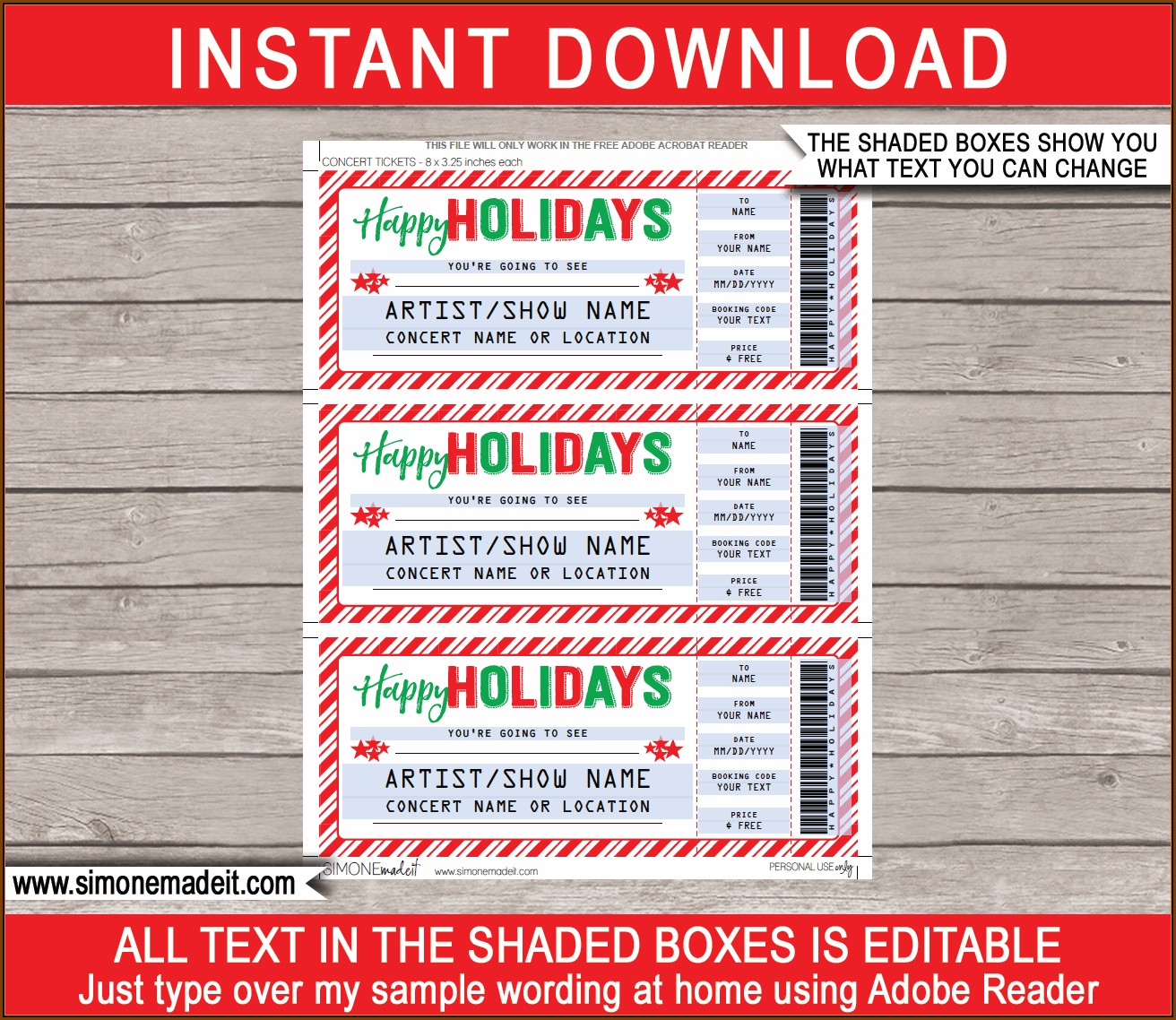 Christmas Dinner Ticket Templates Free