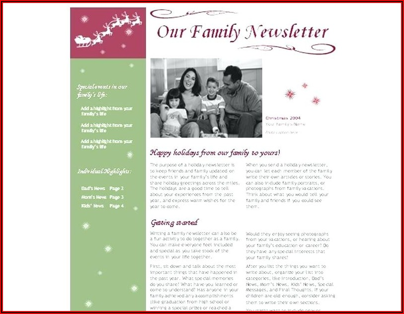Christmas Newsletter Templates Microsoft Publisher
