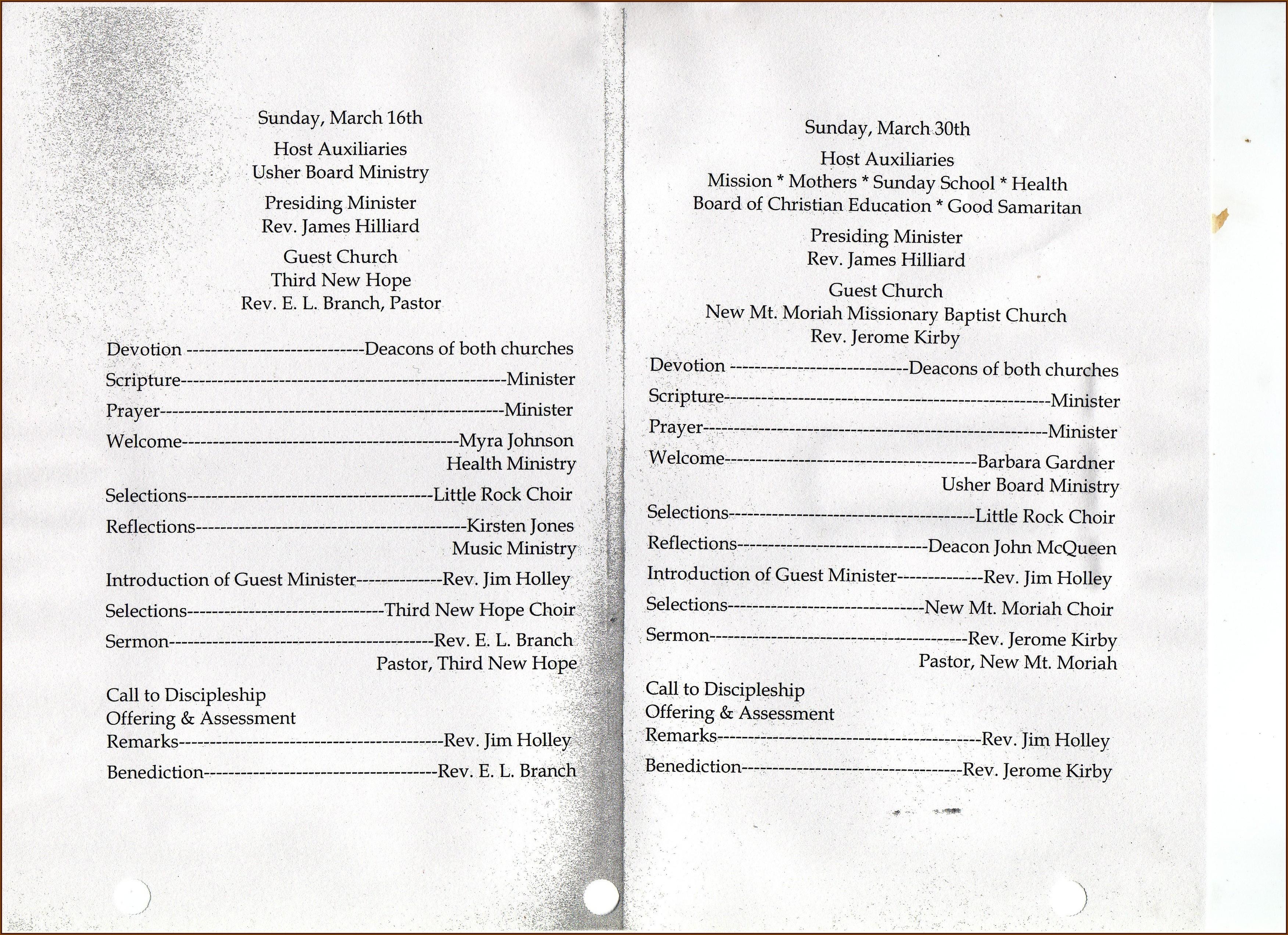 Church Anniversary Program Outline Template