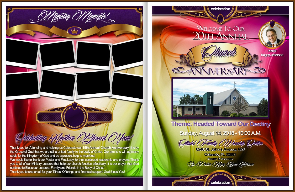 Church Anniversary Service Program Template