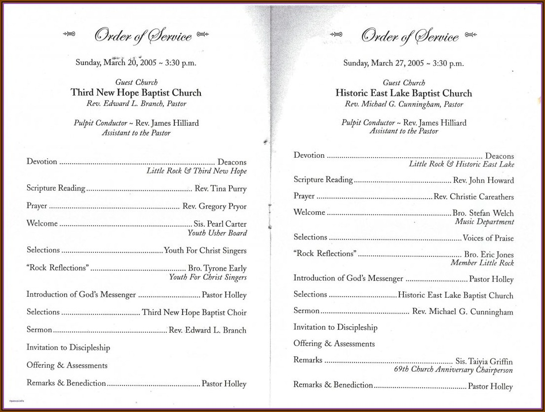 Church Bulletin Templates Free Download