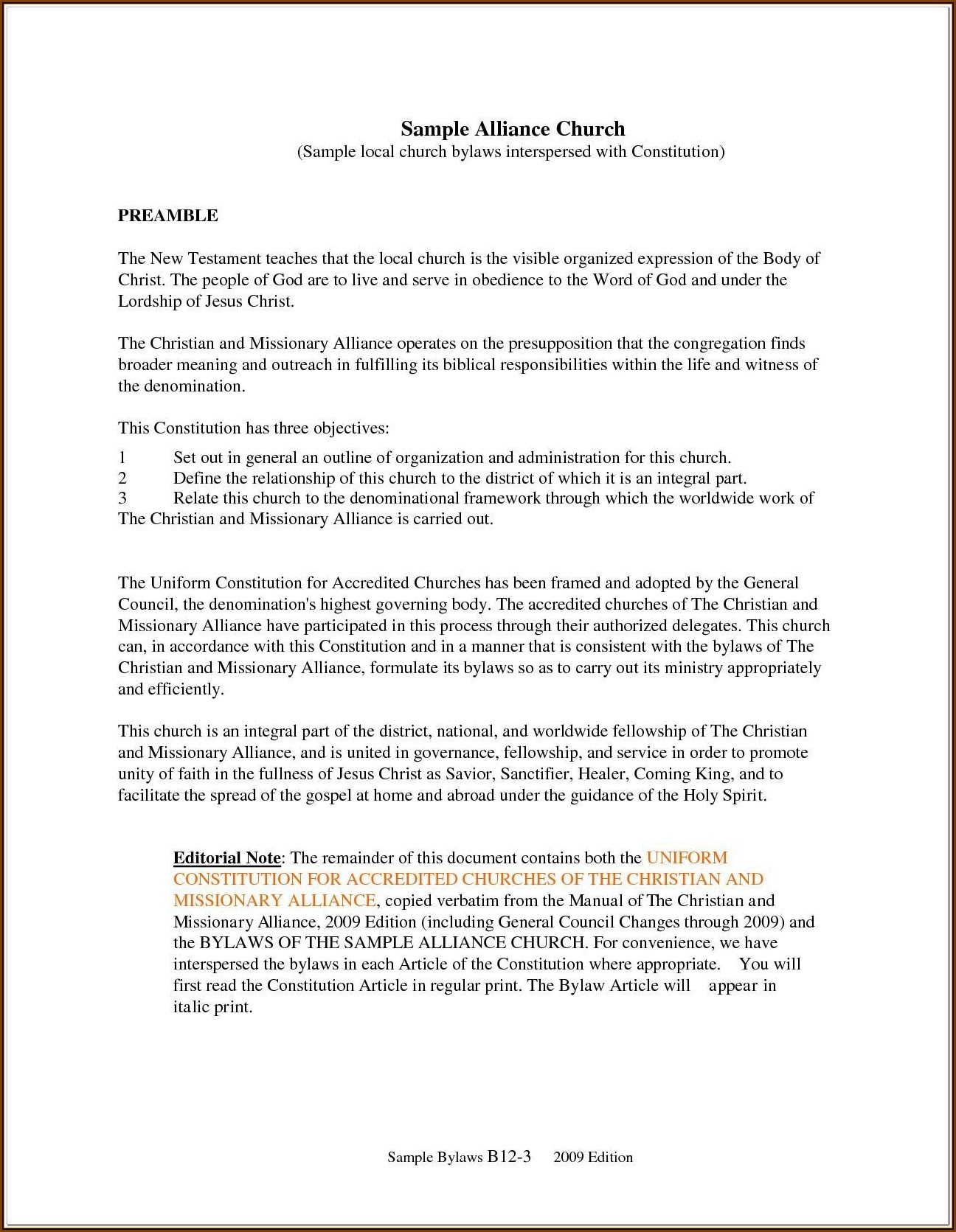 Church Bylaws Template Pdf