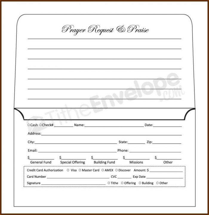 Church Offering Envelopes Templates Free