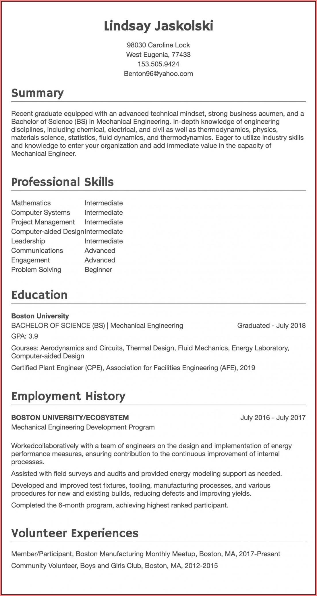 Civil Engineer Resume Word Format Free Download
