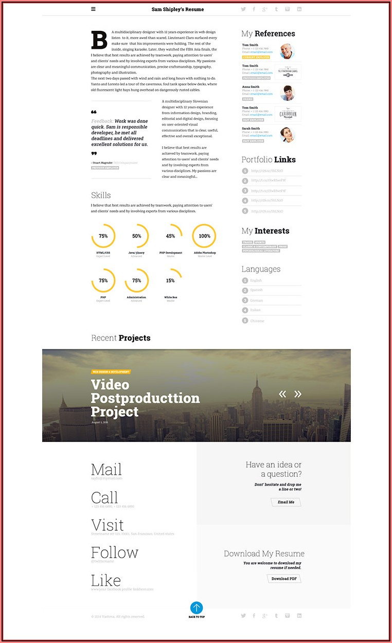 Clean Cv Resume Html Template Free Download