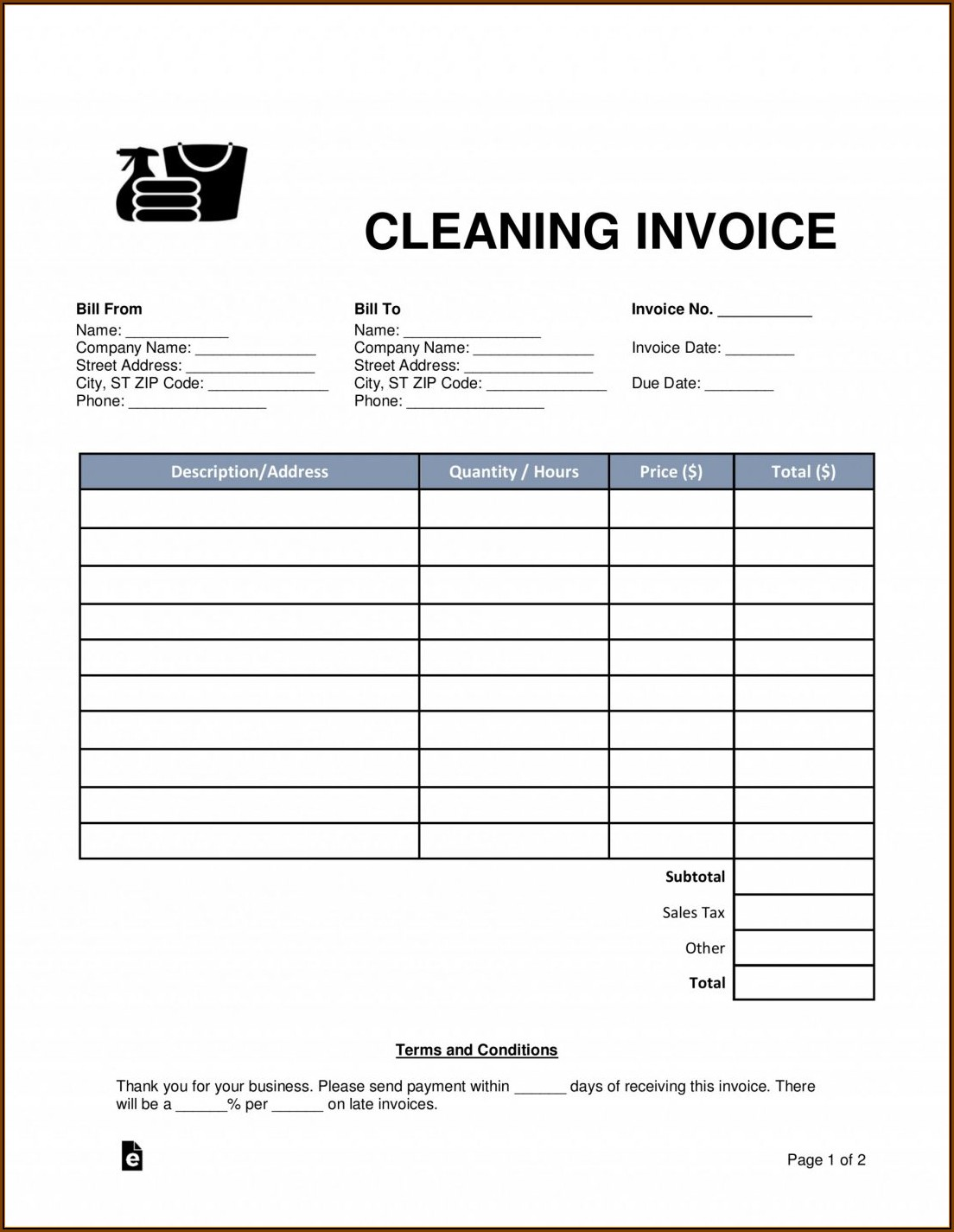 Cleaning Services Invoice Template Uk
