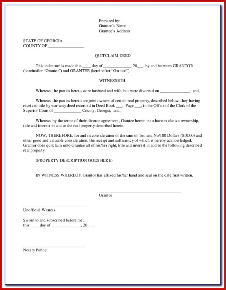 Cobb County Georgia Quit Claim Deed Form