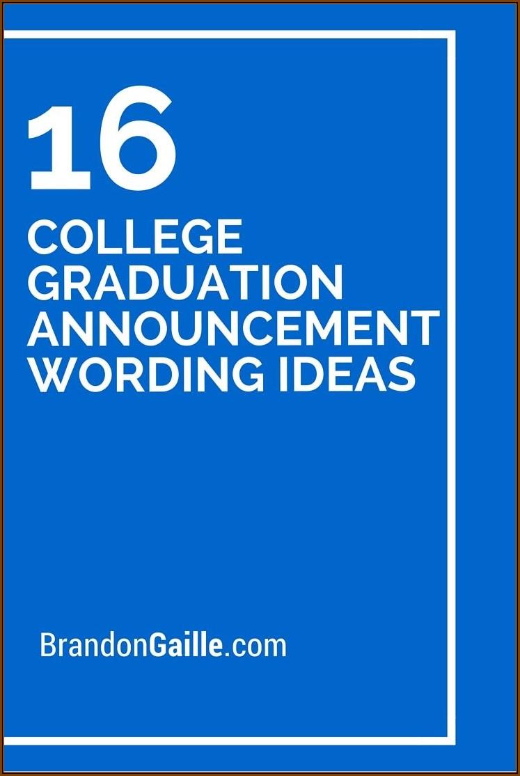 College Graduation Announcement Wording Samples