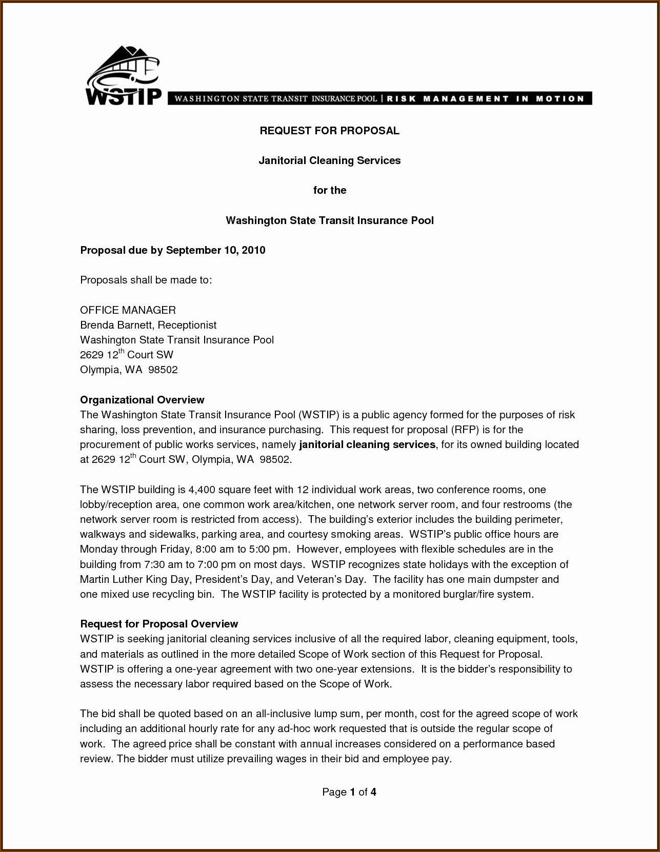 Commercial Cleaning Business Contract Template