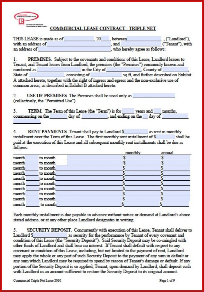 Commercial Triple Net Lease Agreement Template Free