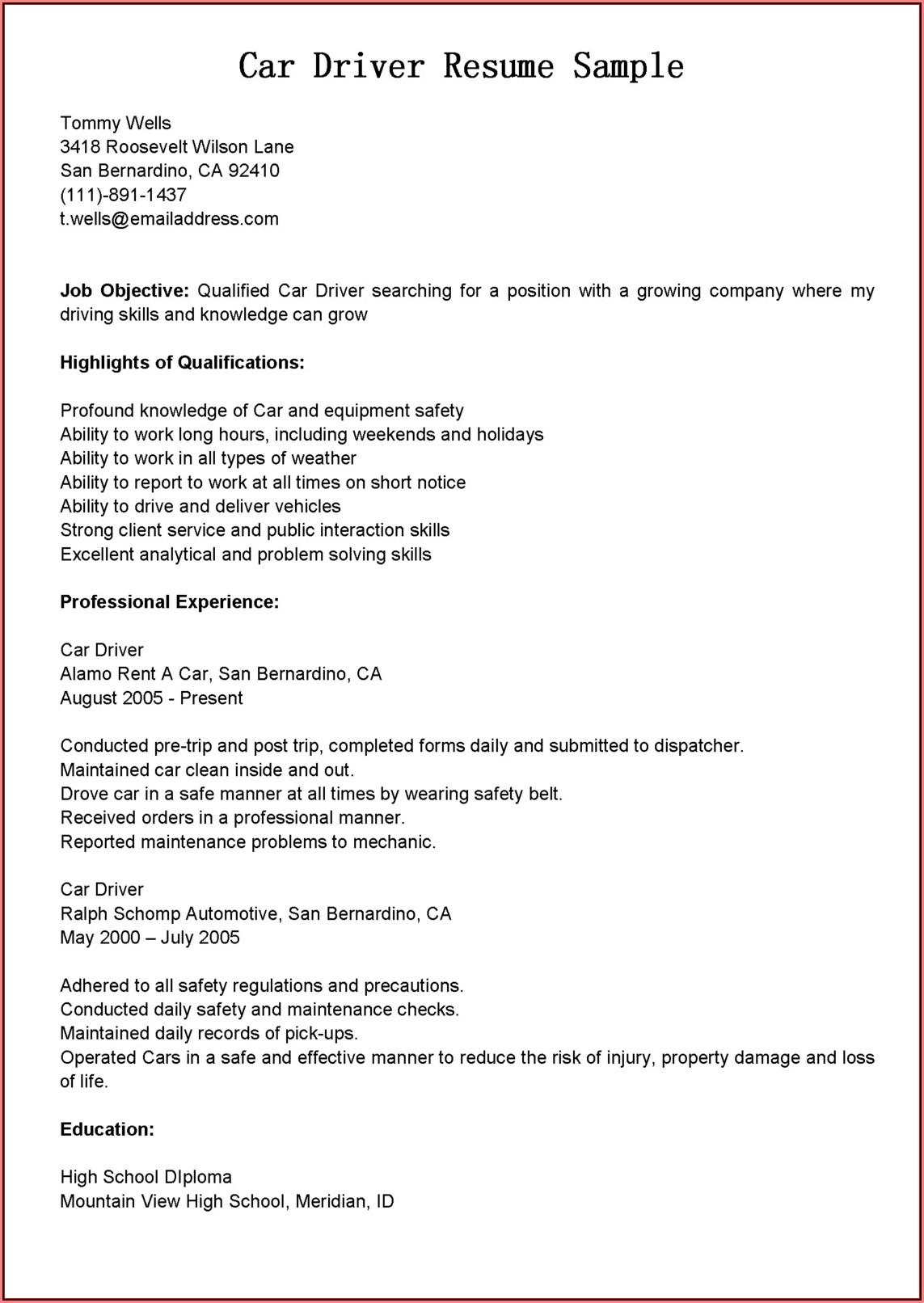 Company Car Driver Resume