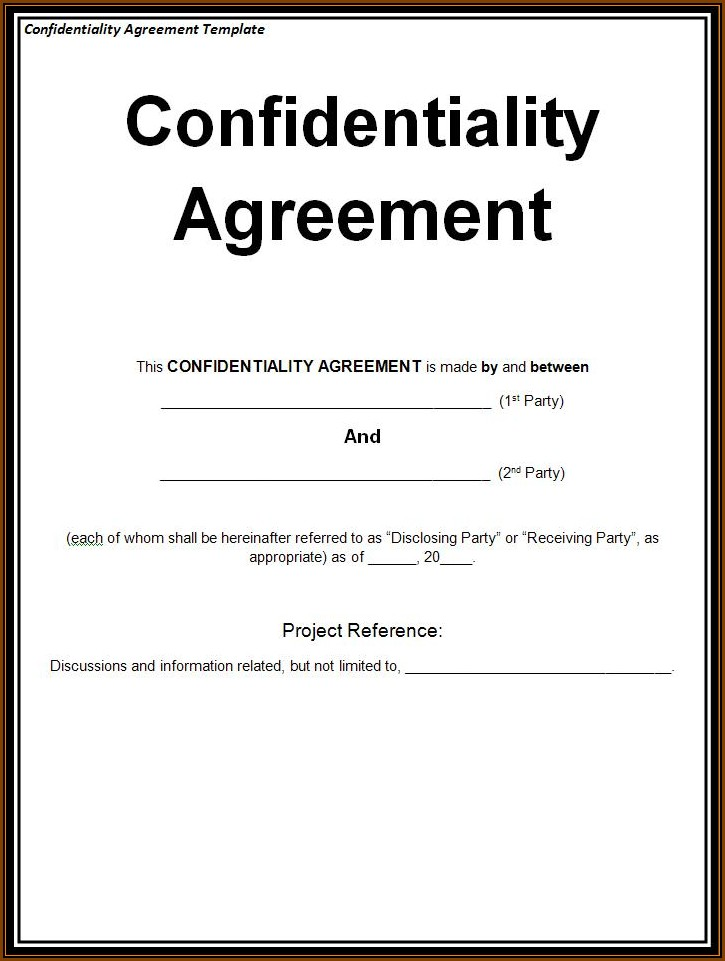 Confidentiality Agreement Template Free