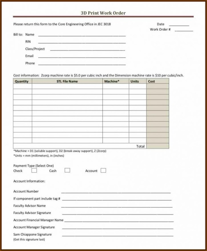 Construction Additional Work Order Template
