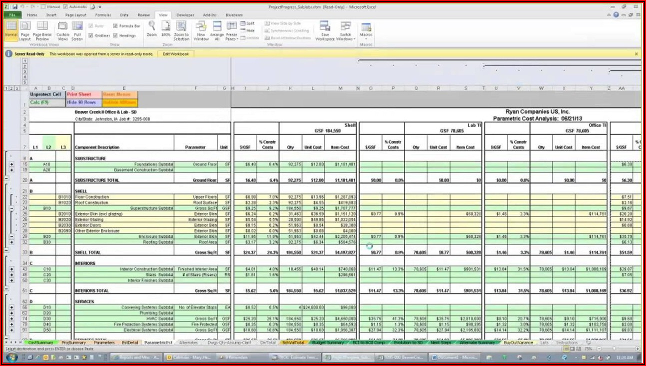 Construction Estimating Template