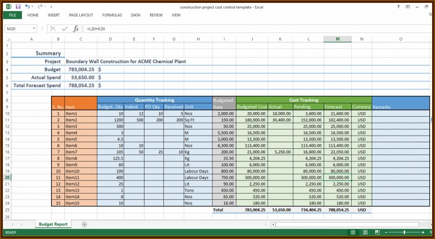 Construction Project Cost Breakdown Template