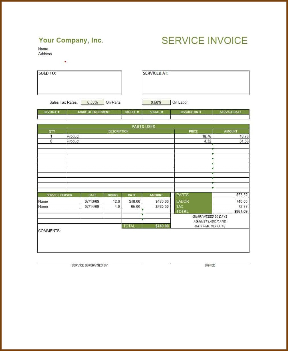 Consulting Service Invoice Template Word