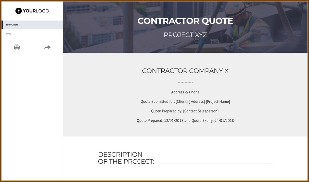 Contractor Quote Template