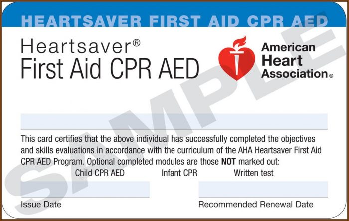 Cpr Card Template American Heart Association