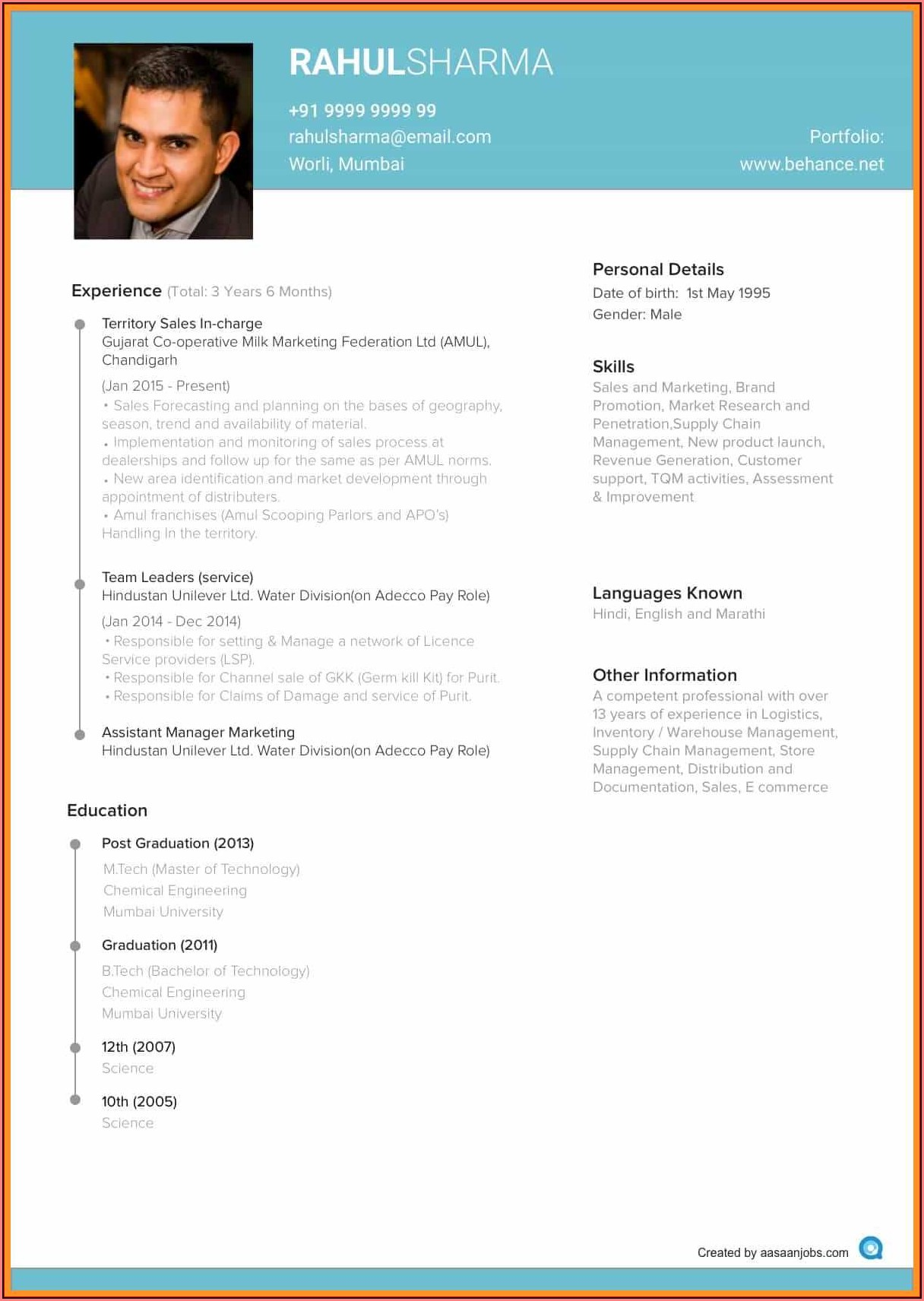 Create New Resume Format For Freshers