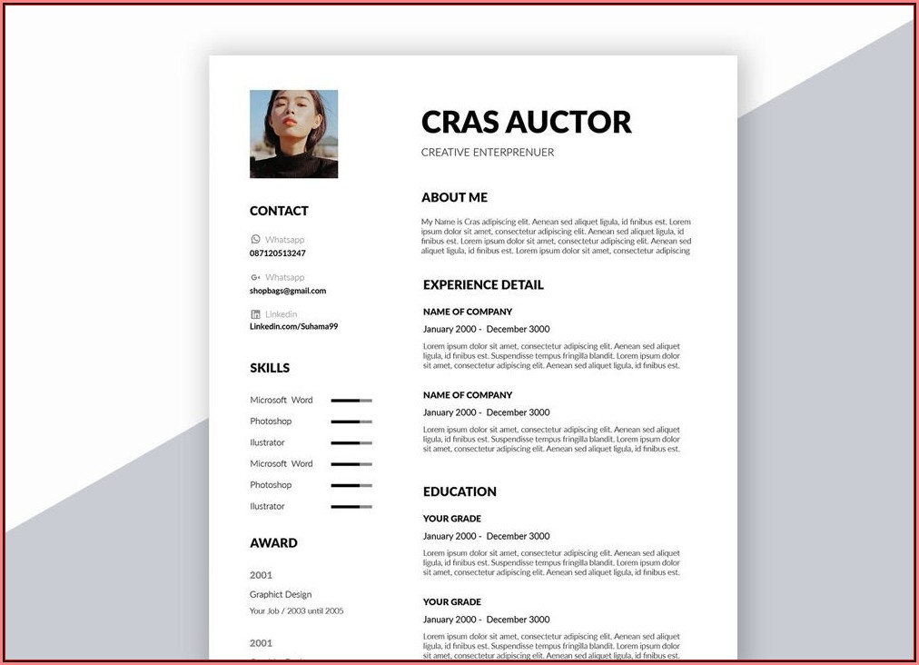 Creative Resume Template Word Free Download