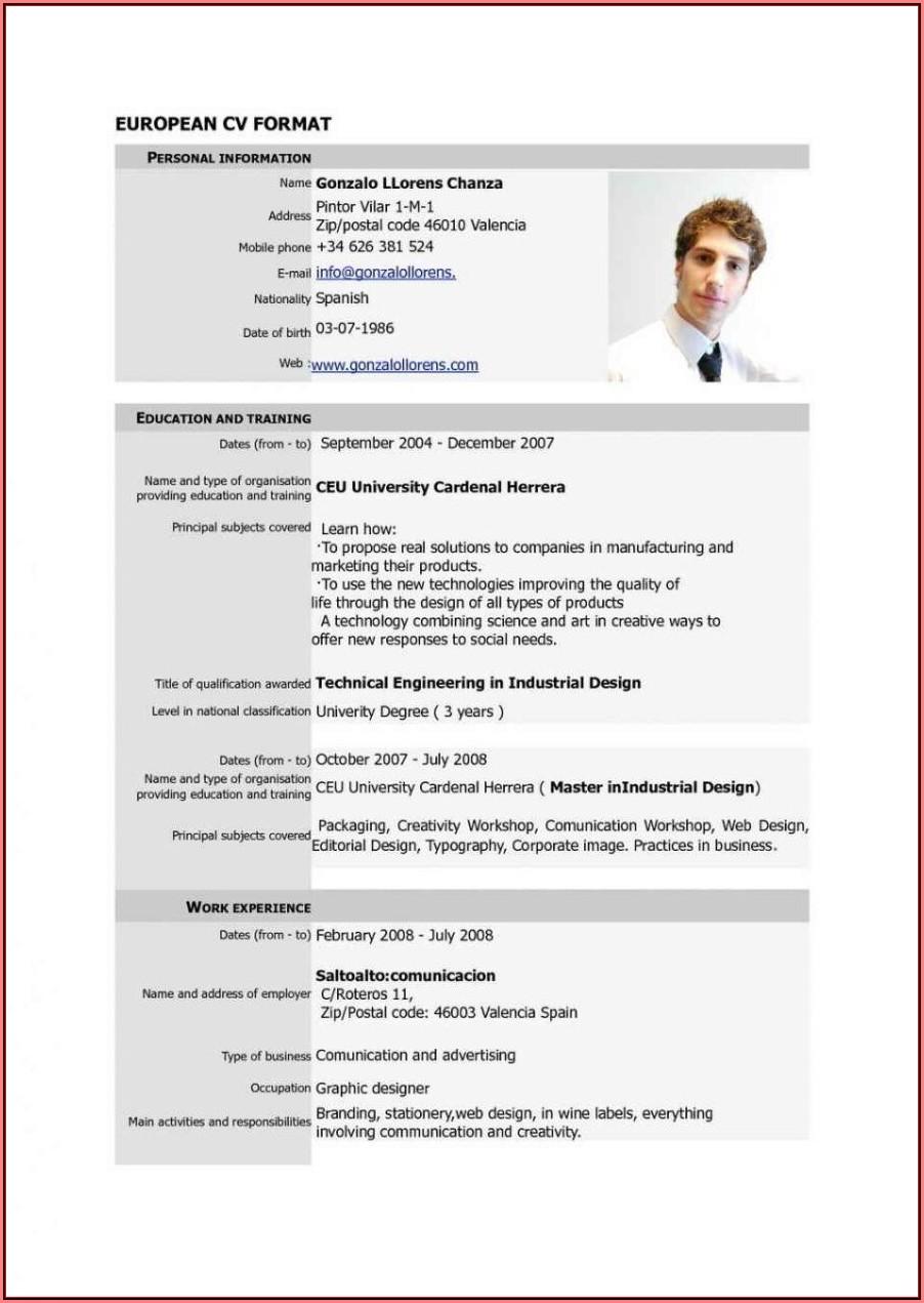 Curriculum Vitae Format Template Download