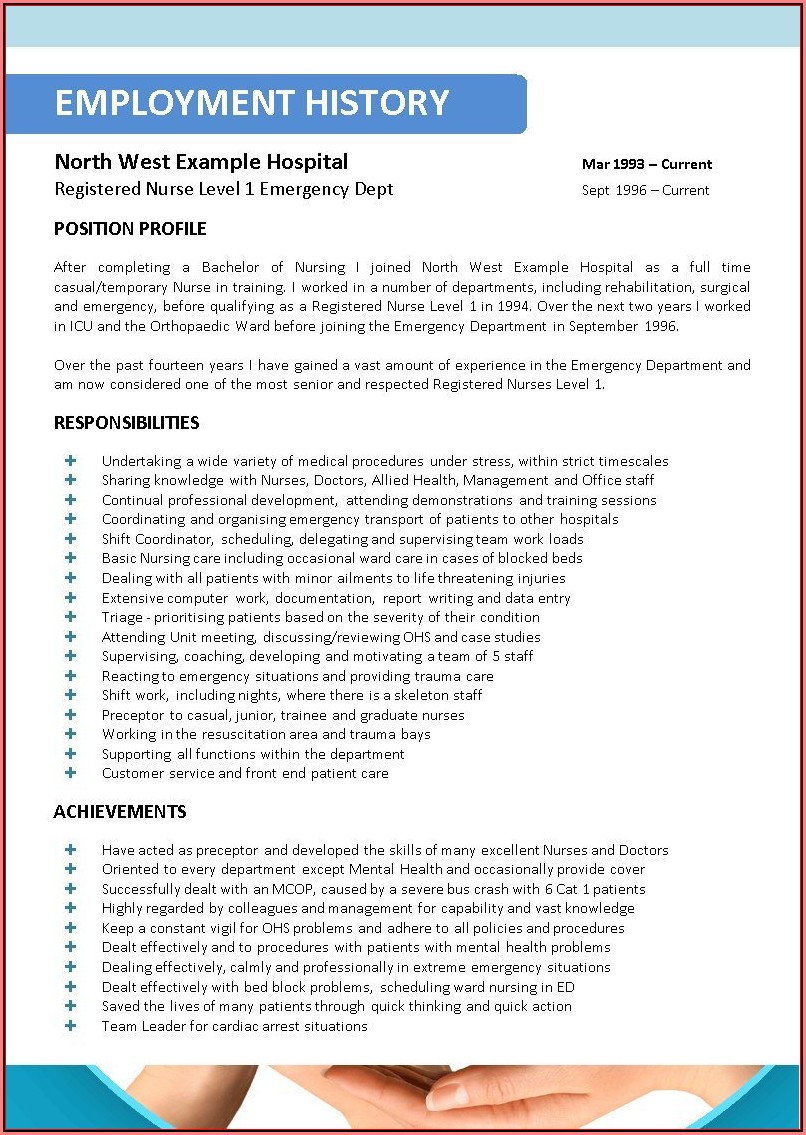 Curriculum Vitae Sample For Registered Nurse