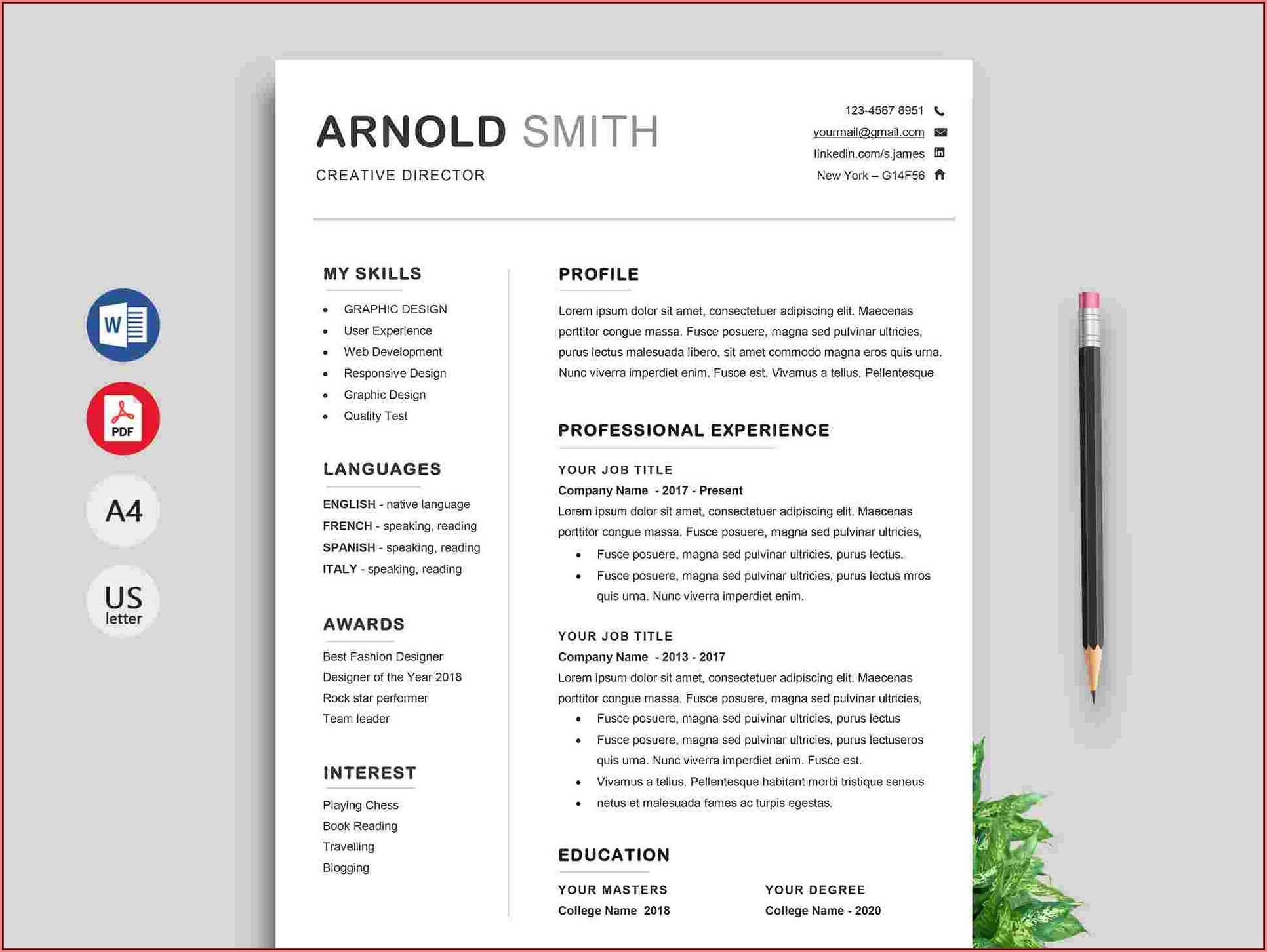 Cv Resume Template Free Download Word
