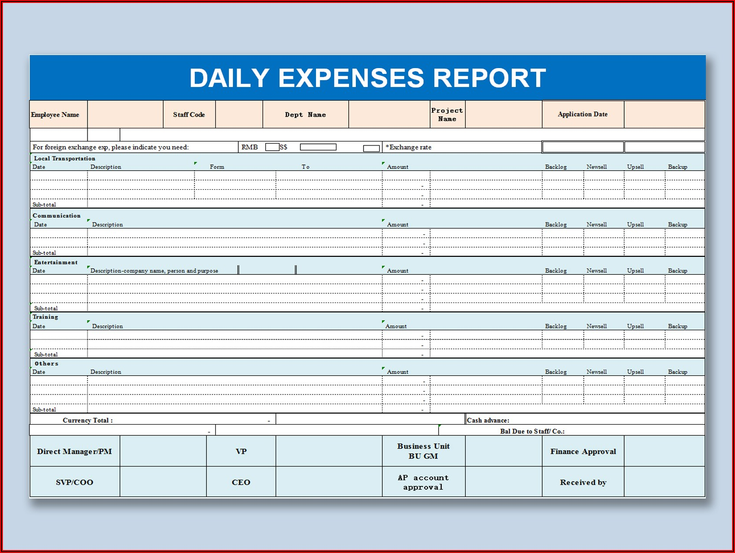Daily Expense Spreadsheet Template Free