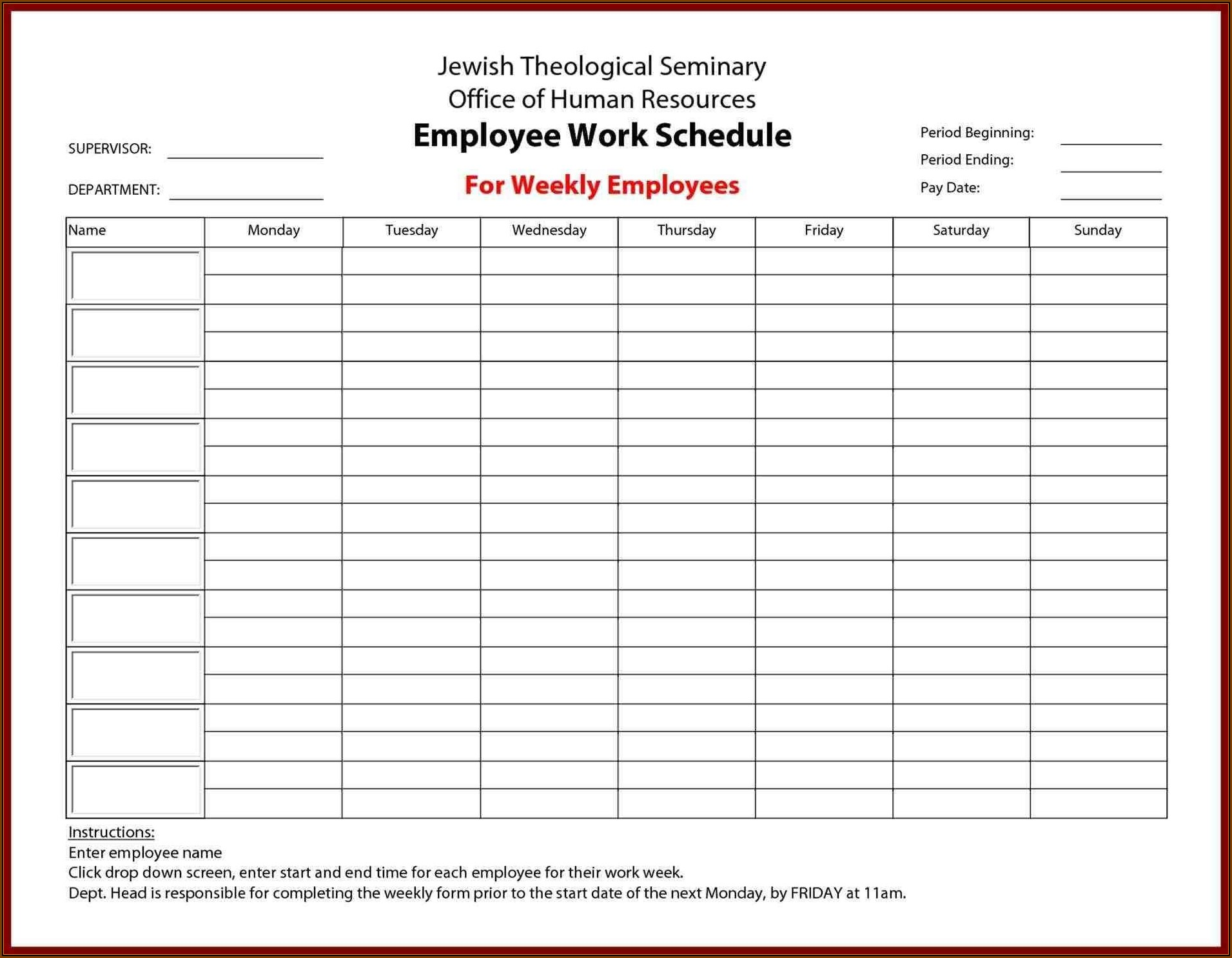 Daily Timesheet Template For Multiple Employees