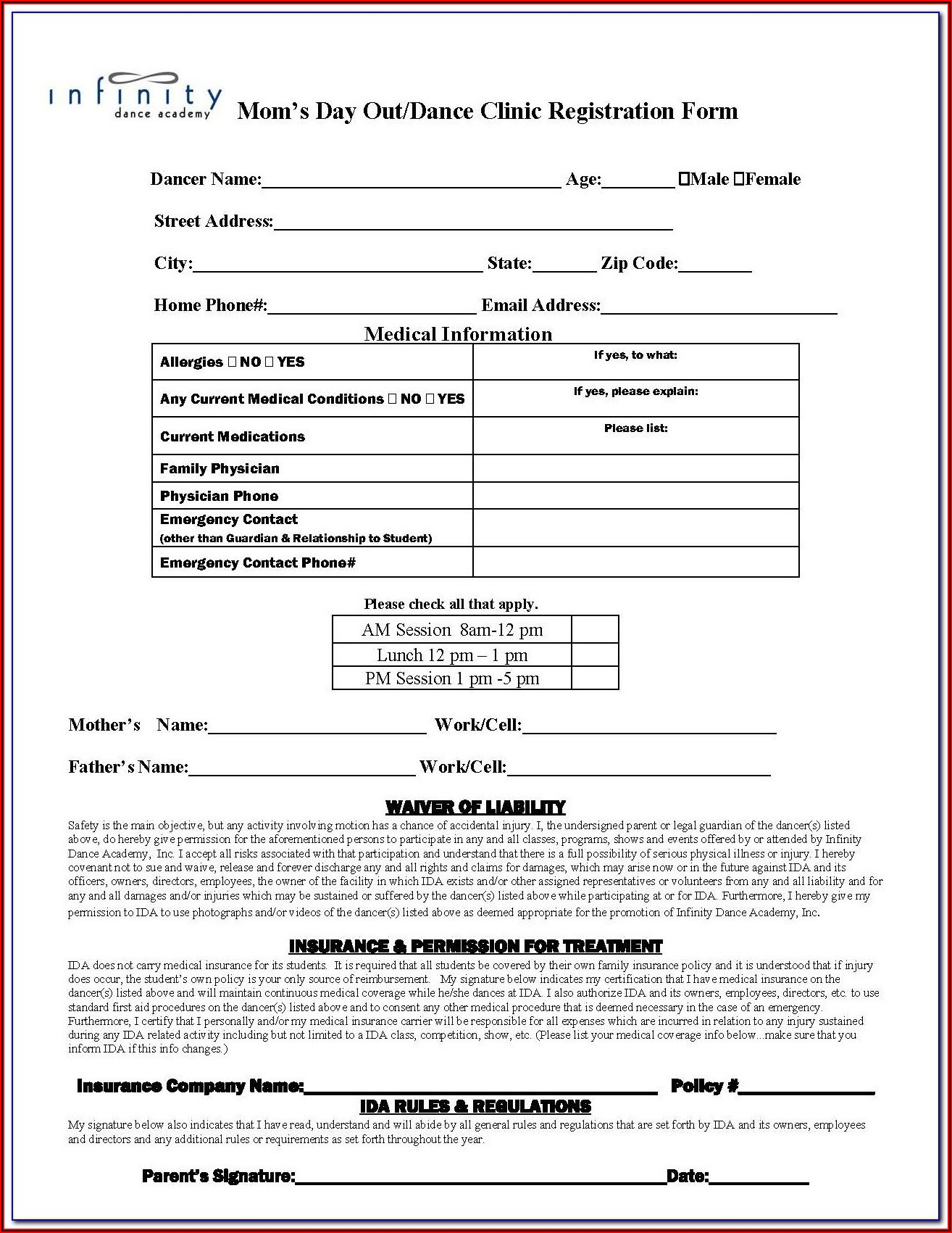 Dance Competition Registration Form Template