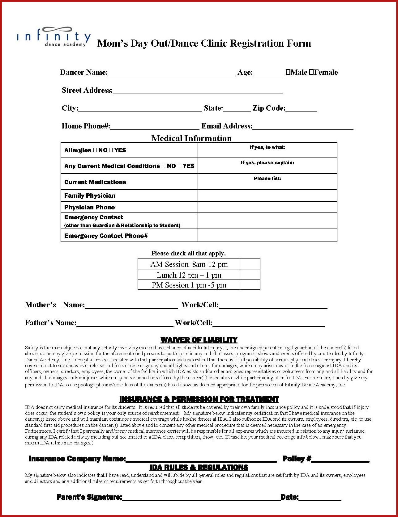 Dance School Registration Form Template