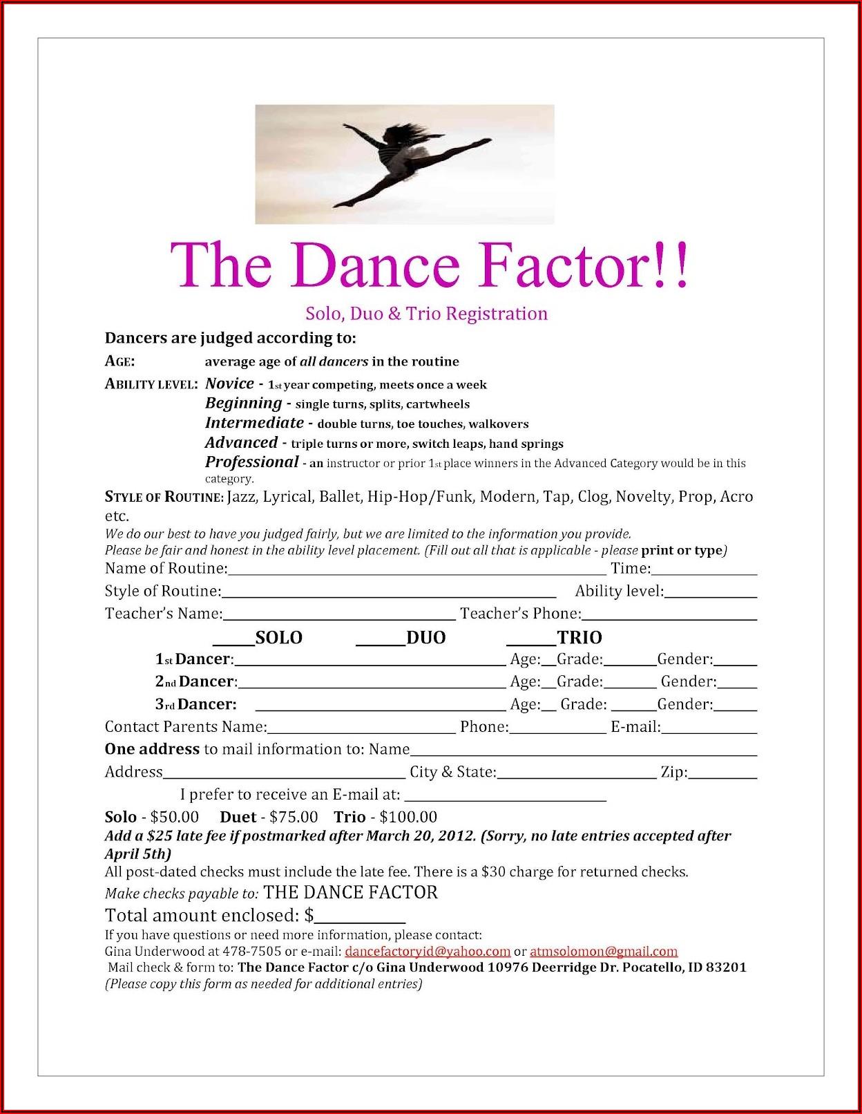 Dance Studio Registration Form Template