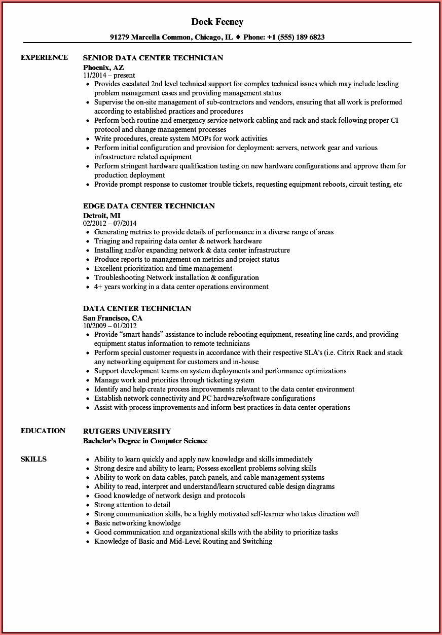 Data Center Migration Sample Resume