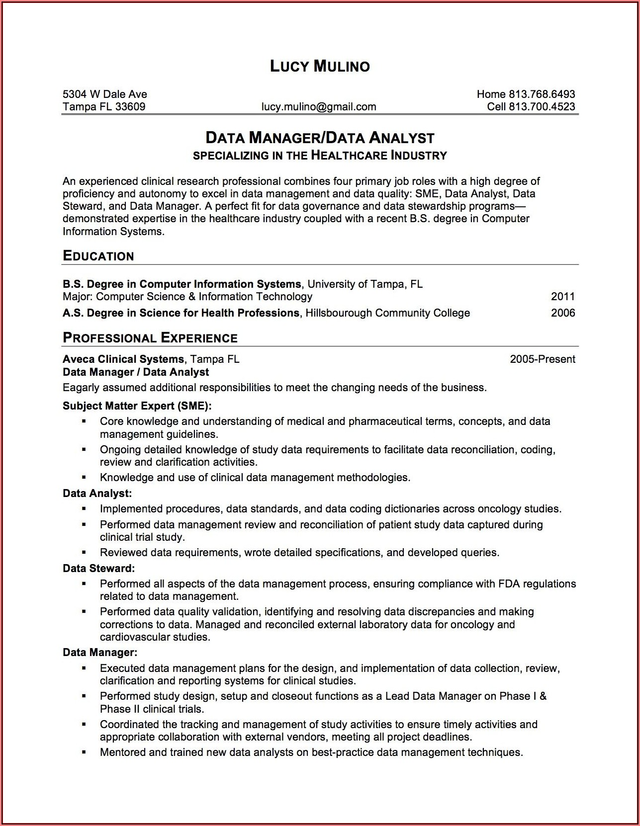 Data Governance Resume Pdf