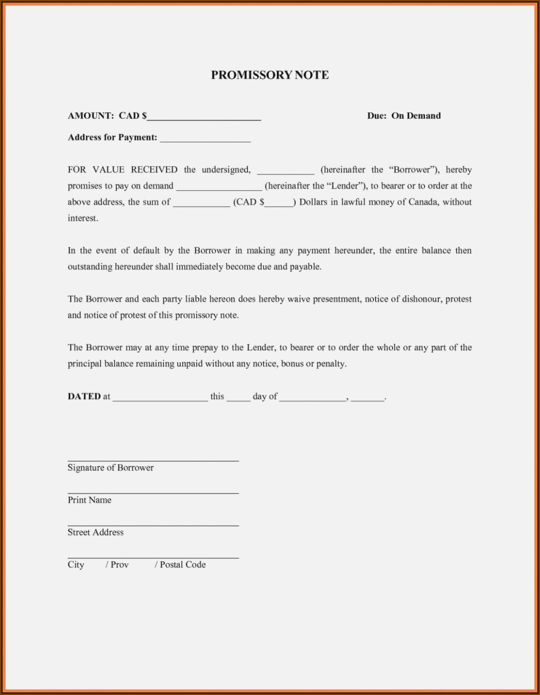 Demand Note Payable Template