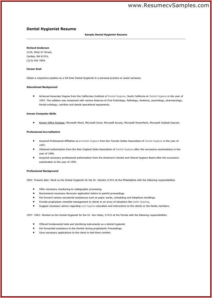 Dental Assistant Resume With No Work Experience