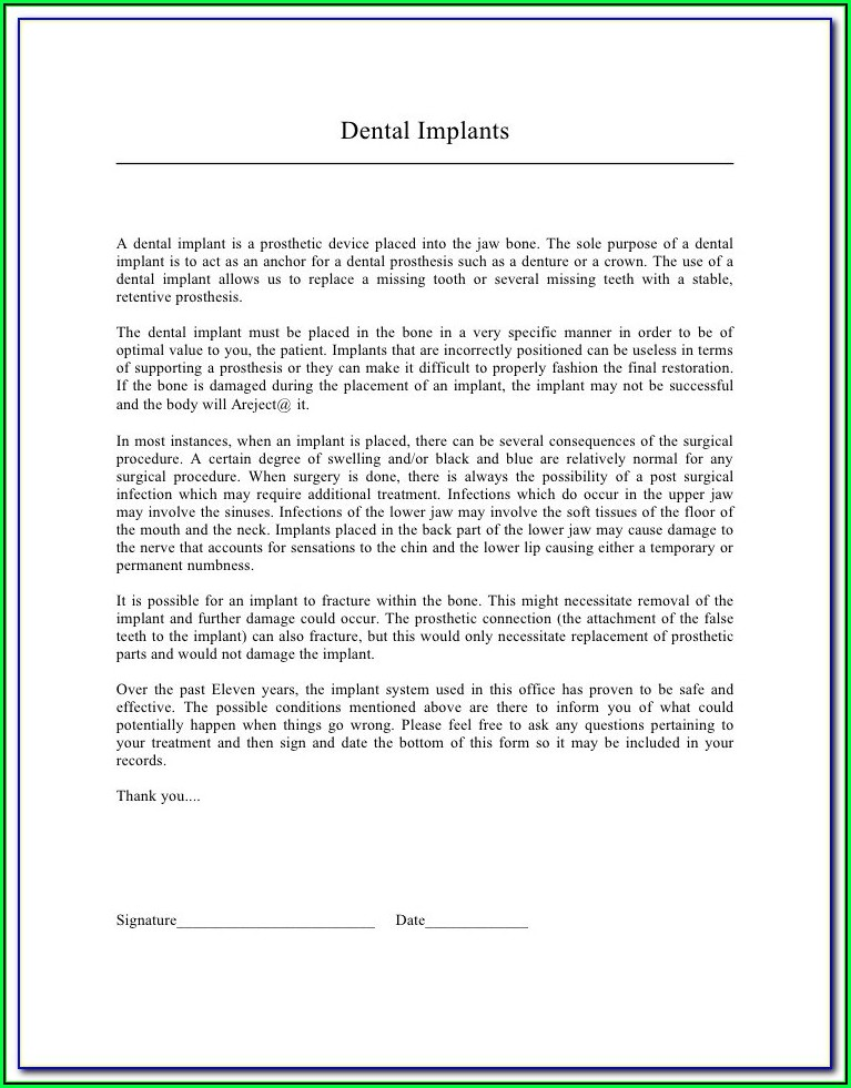 Denture Approval Consent Form