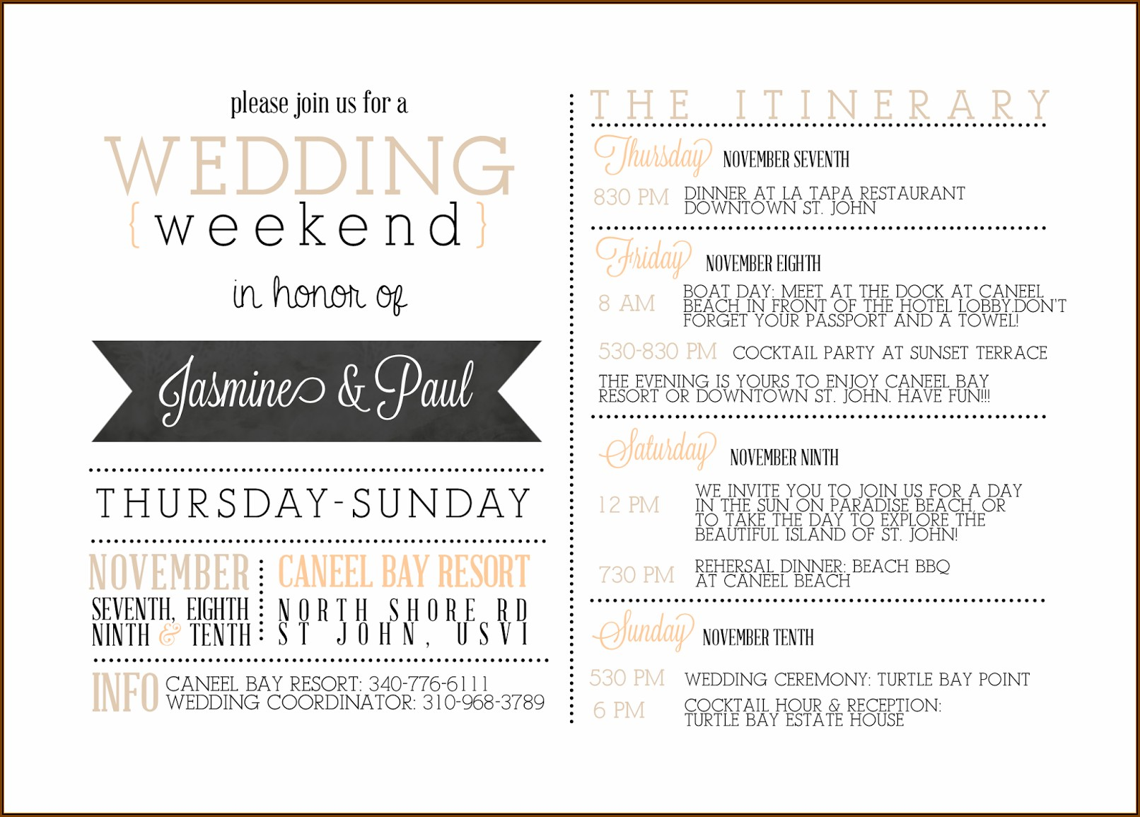 Destination Wedding Guest Itinerary Template