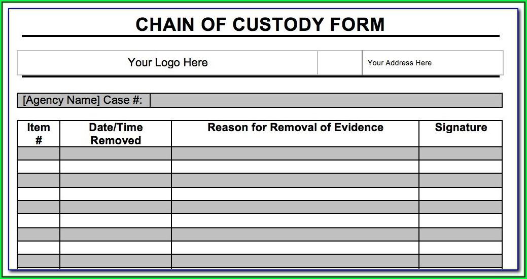 Digital Forensics Chain Of Custody Form Template