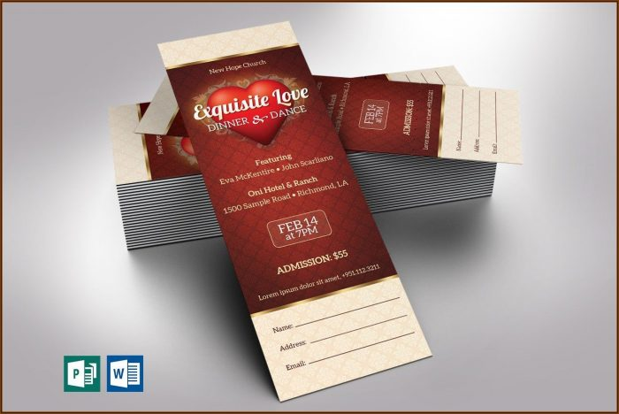 Dinner Ticket Template Publisher