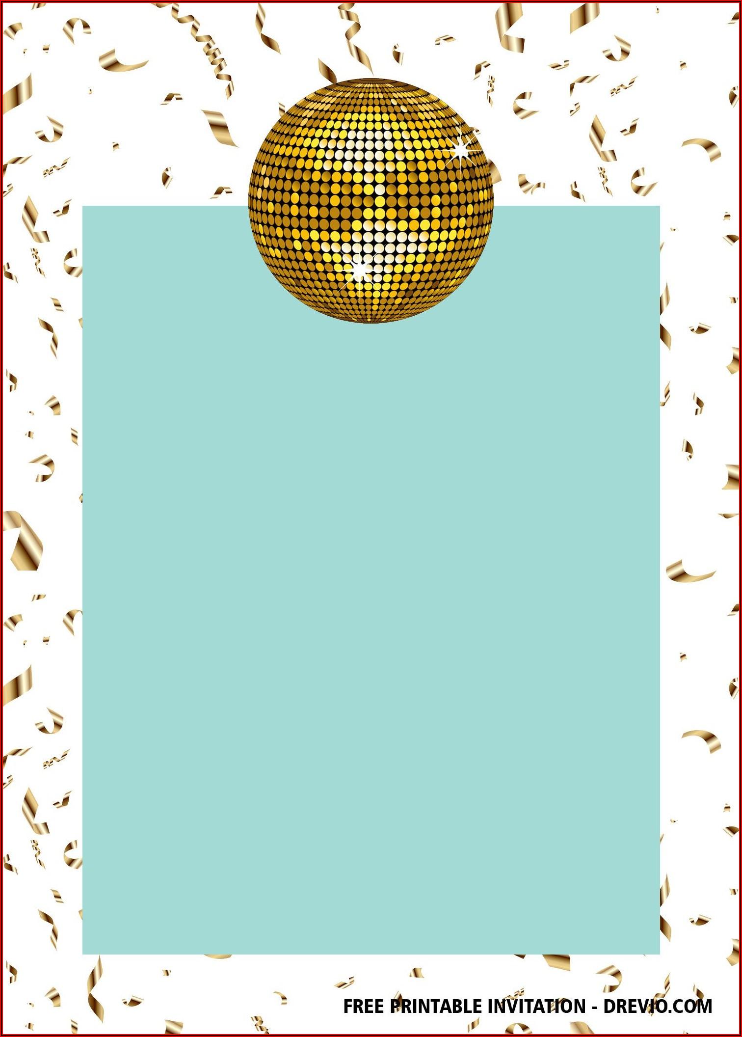Disco Birthday Invitations Free