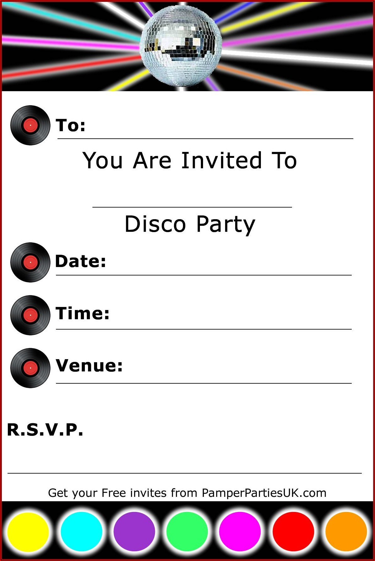Disco Birthday Party Invitation Templates Free