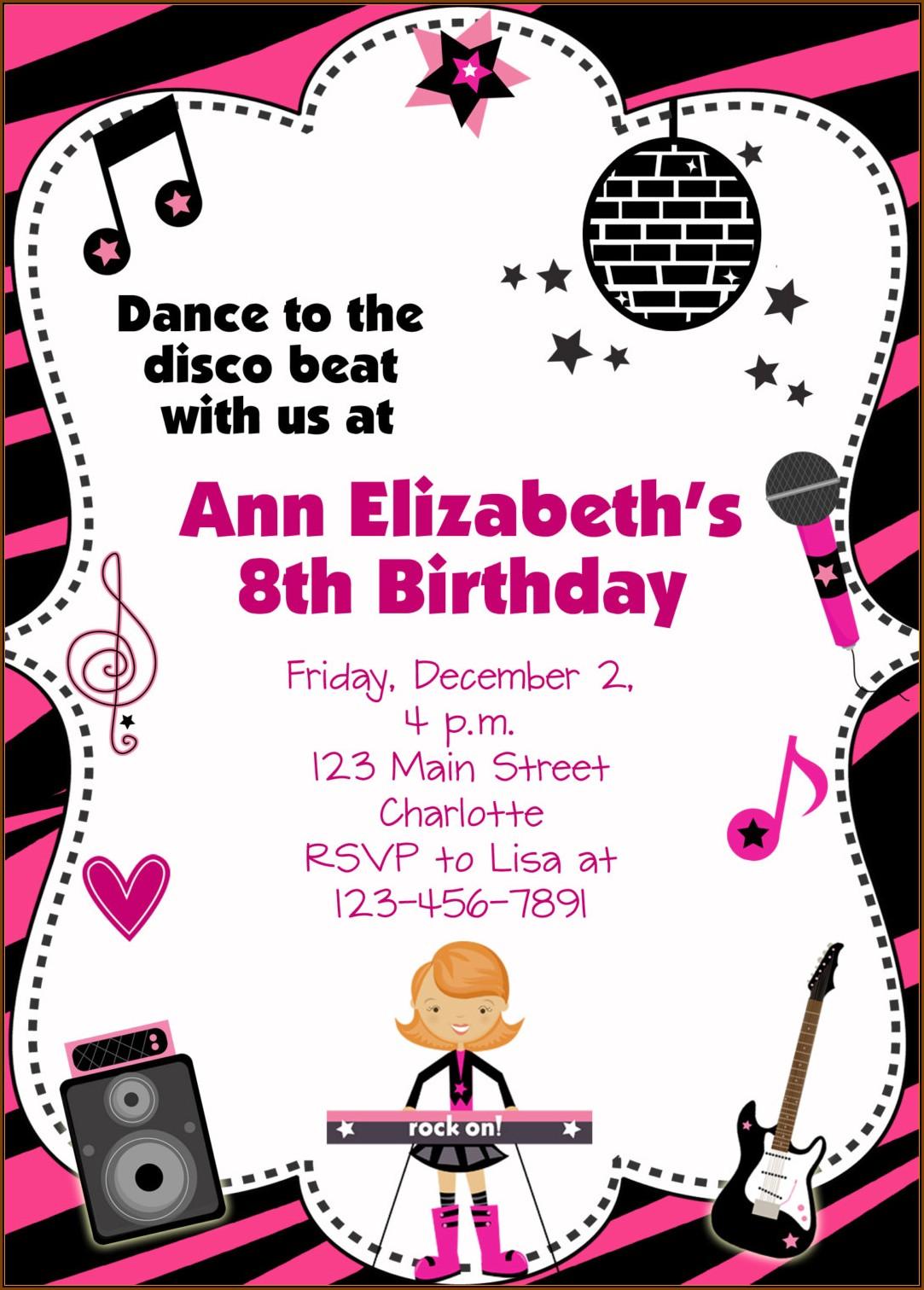 Disco Dance Party Invitation Template