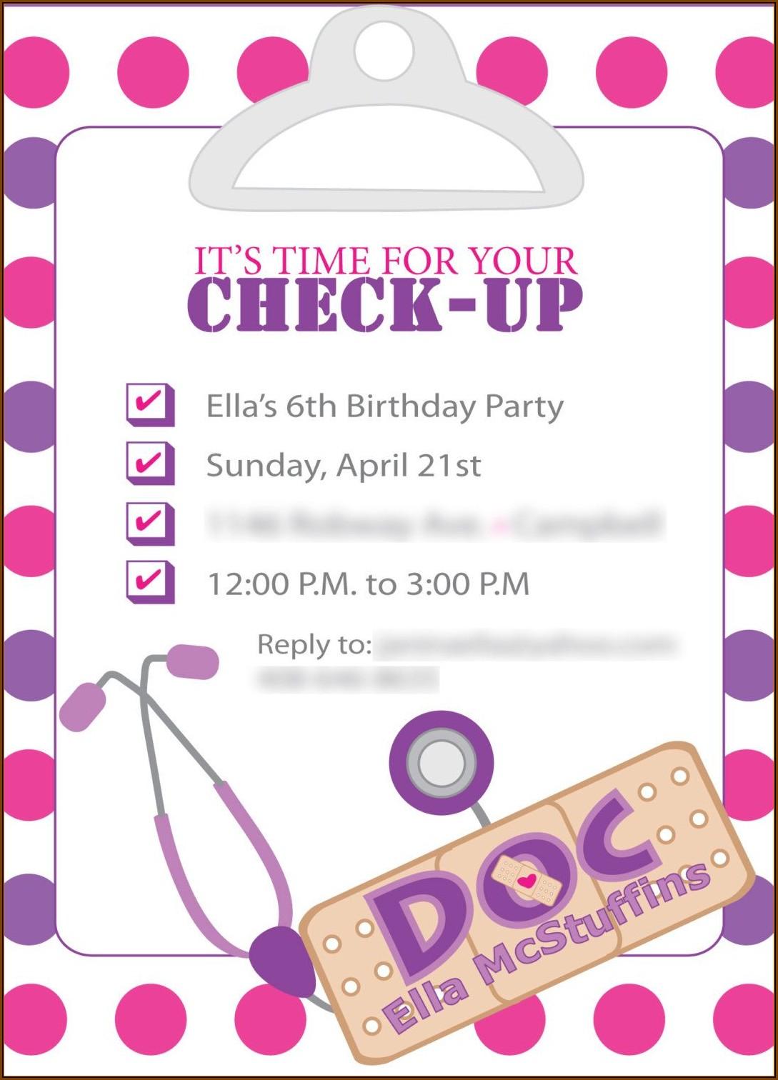 Doc Mcstuffin Invitation Template