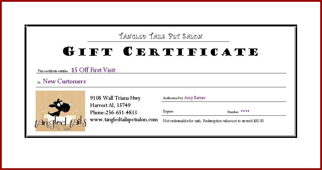 Dog Grooming Gift Certificate Template Free